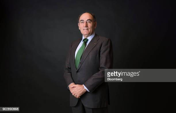 Ignacio Galan chairman and chief executive officer of Iberdrola SA poses for a photograph following a Bloomberg Television interview in London UK on...