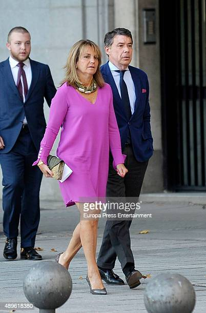 Ignacio Gonzalez and Lourdes Cavero attend the opening of the Royal Theatre new season on September 22 2015 in Madrid Spain