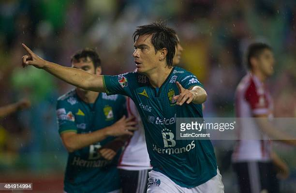 Ignacio Gonzalez of Leon celebrates after scoring the first goal of his team during during a 6th round match between Leon and Chivas as part of the...