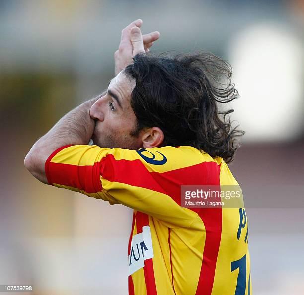 Ignacio Piatti of Lecce celebrates his team's opening goal during the Serie A match between Lecce and Chievo at Stadio Via del Mare on December 12...