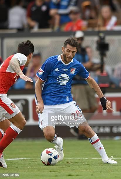 Ignacio Piatti of MLS AllStars dribbles the ball up field against the Arsenal FC during the second half of the ATT MLS AllStar Game at Avaya Stadium...