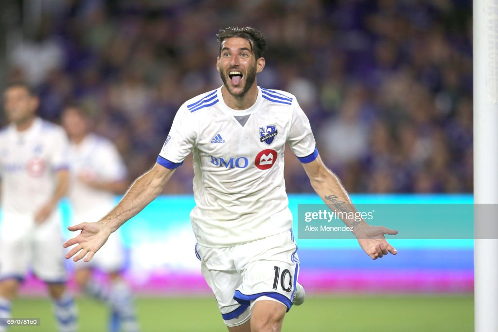 ORLANDO, FL - JUNE 17 Ignacio Piatti #10 of Montreal Impact celebrate his second goal during a MLS soccer match between the Montreal Impact and the Orlando City SC at Orlando City Stadium on June 17, 2017 in Orlando, Florida.