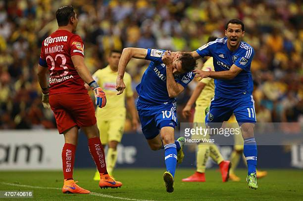 Ignacio Piatti of Montreal Impact celebrates with Dilly Duka after scoring the first goal of his team during a Championship first leg match between...