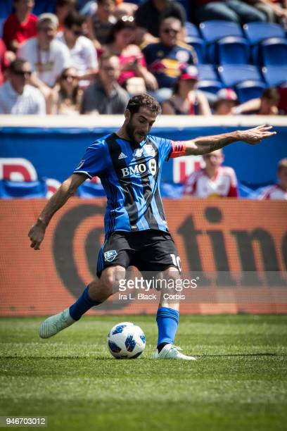 Ignacio Piatti of Montreal Impact clears the ball during the Major League Soccer match between Montreal Impact and New York Red Bulls at Red Bull...