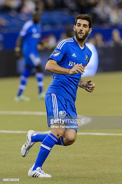 Ignacio Piatti of Montreal Impact runs during the MLS game against the Orlando City SC at the Olympic Stadium on March 28 2015 in Montreal Quebec...