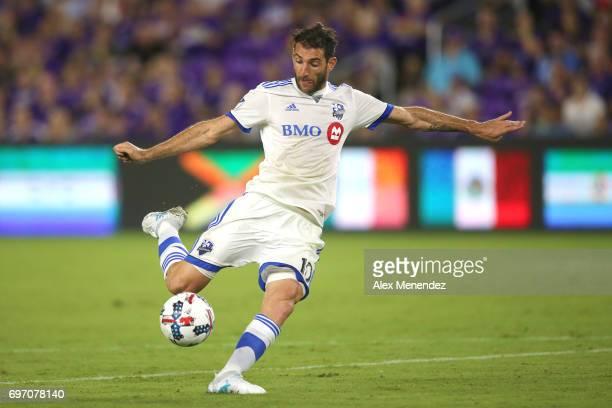 ORLANDO FL JUNE 17 Ignacio Piatti of Montreal Impact scores a goal during a MLS soccer match between the Montreal Impact and the Orlando City SC at...