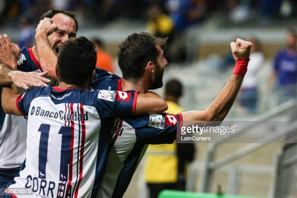 Ignacio Piatti of San Lorenzo celebrates a scored goal during a quarter final match between Cruzeiro and San Lorenzo as part of Copa Bridgestone...