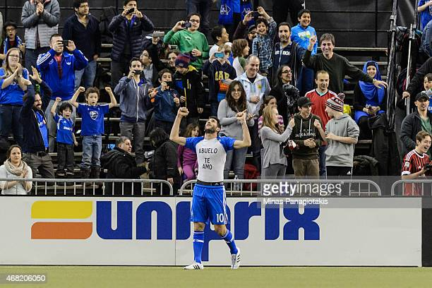 Ignacio Piatti of the Montreal Impact celebrates his goal during the MLS game against the Orlando City SC at the Olympic Stadium on March 28 2015 in...