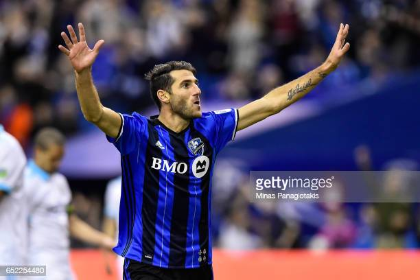 Ignacio Piatti of the Montreal Impact celebrates his goal in the second half during the MLS game against the Seattle Sounders FC at Olympic Stadium...
