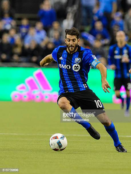Ignacio Piatti of the Montreal Impact controls the ball during the MLS game against the New York Red Bulls at the Olympic Stadium on March 12 2016 in...