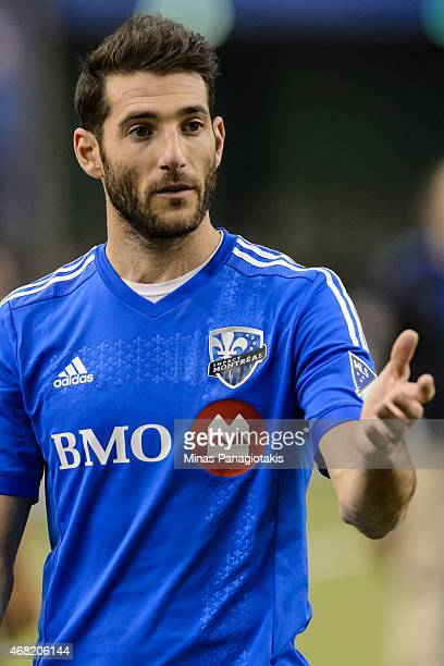 Ignacio Piatti of the Montreal Impact extends his arm during the MLS game against the Orlando City SC at the Olympic Stadium on March 28 2015 in...