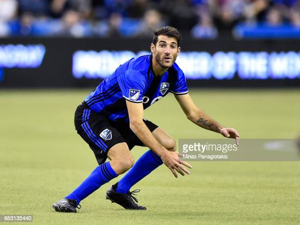 Ignacio Piatti of the Montreal Impact follows the play during the MLS game against the Seattle Sounders FC at Olympic Stadium on March 11 2017 in...