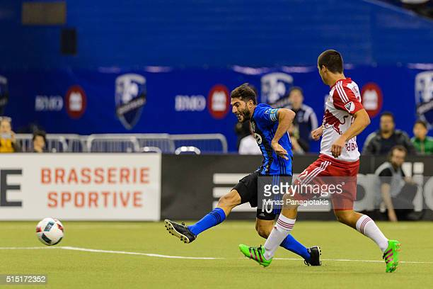 Ignacio Piatti of the Montreal Impact kicks the ball and scores a goal in the second half during the MLS game against the New York Red Bulls at the...