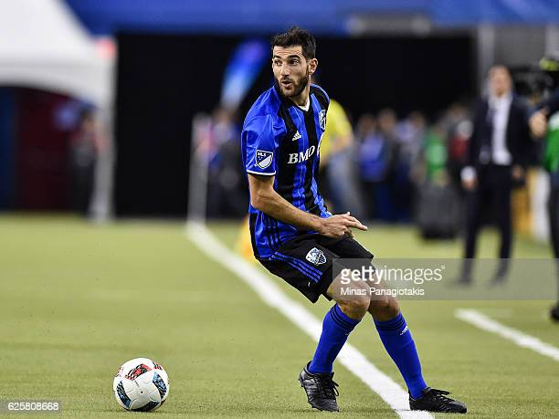 Ignacio Piatti of the Montreal Impact looks to play the ball during leg one of the MLS Eastern Conference finals against the Toronto FC at Olympic...