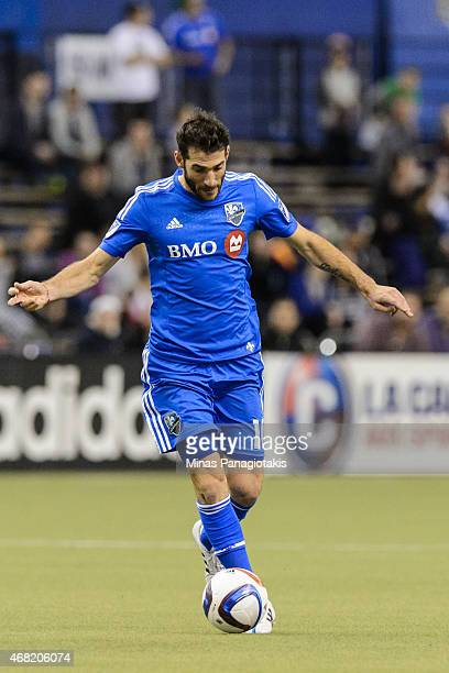 Ignacio Piatti of the Montreal Impact moves the ball during the MLS game against the Orlando City SC at the Olympic Stadium on March 28 2015 in...
