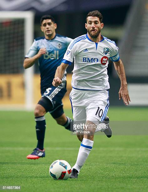 Ignacio Piatti of the Montreal Impact plays the ball during their MLS game against the Vancouver Whitecaps March 6 2016 at BC Place in Vancouver...