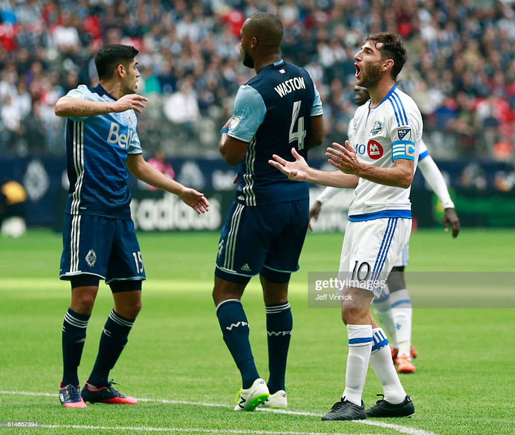 Ignacio Piatti #10 of the Montreal Impact reacts after missing a scoring chance during their MLS game against the Vancouver Whitecaps March 6, 2016 at BC Place in Vancouver, British Columbia, Canada. Montreal won 3-2.