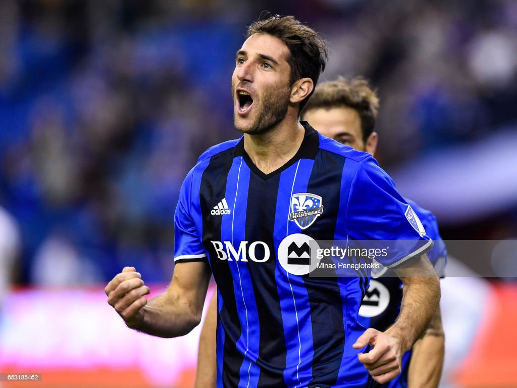 Ignacio Piatti #10 of the Montreal Impact reacts after scoring a goal in the second half during the MLS game against the Seattle Sounders FC at Olympic Stadium on March 11, 2017 in Montreal, Quebec, Canada. The Seattle Sounders FC and the Montreal Impact end up in a 2-2 draw.