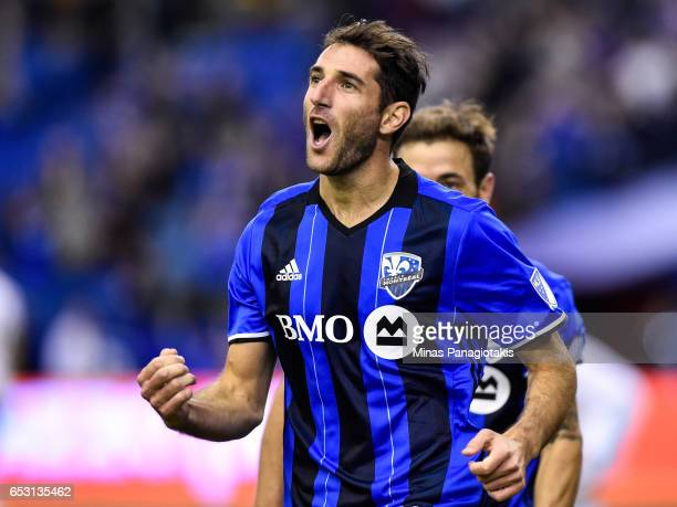 Ignacio Piatti of the Montreal Impact reacts after scoring a goal in the second half during the MLS game against the Seattle Sounders FC at Olympic...