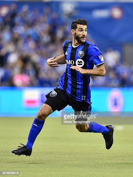 Ignacio Piatti of the Montreal Impact runs during leg one of the MLS Eastern Conference finals against the Toronto FC at Olympic Stadium on November...