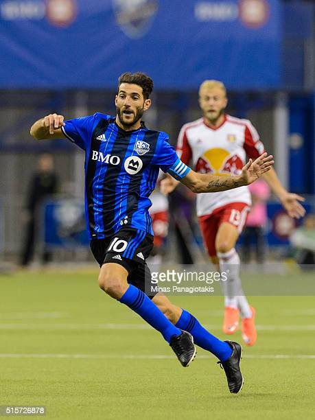 Ignacio Piatti of the Montreal Impact runs during the MLS game against the New York Red Bulls at the Olympic Stadium on March 12 2016 in Montreal...