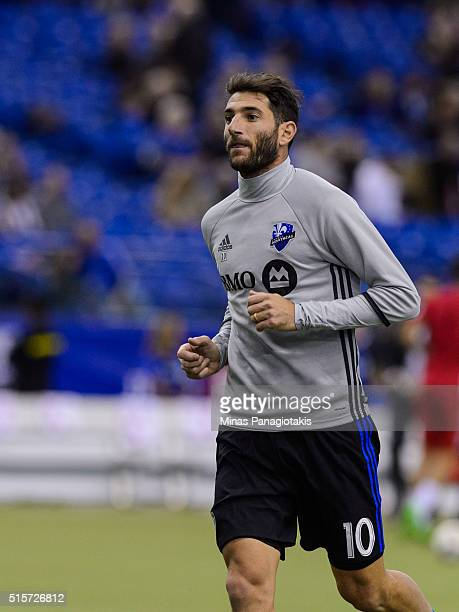 Ignacio Piatti of the Montreal Impact runs during the warmup prior to the MLS game against the New York Red Bulls at the Olympic Stadium on March 12...
