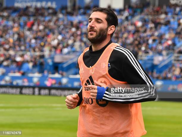 Ignacio Piatti of the Montreal Impact warmsup in the second half against the New England Revolution during the MLS game at Saputo Stadium on May 18...