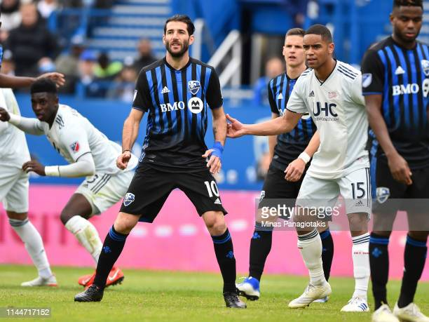 Ignacio Piatti of the Montreal Impact watches the play against the New England Revolution in the second half during the MLS game at Saputo Stadium on...