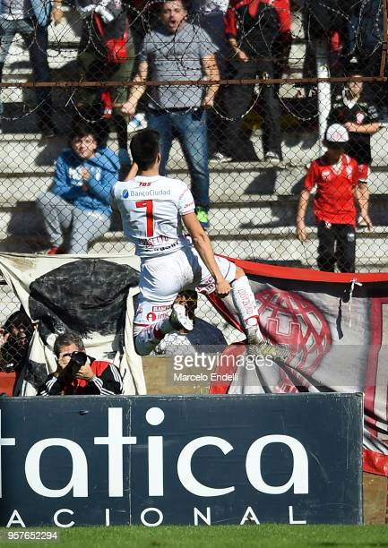 Ignacio Pussetto of Huracan after scoring the first goal of his team during a match between Huracan and Boca Juniors as part of Superliga 2017/18 at...