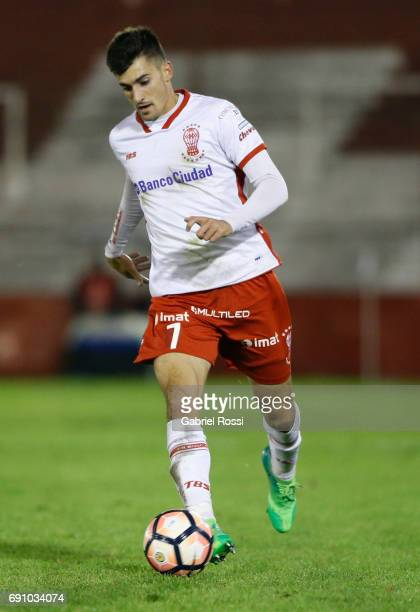 Ignacio Pussetto of Huracan drives the ball during a second leg match between Huracan and Deportivo Anzoategui as part of first round of Copa...