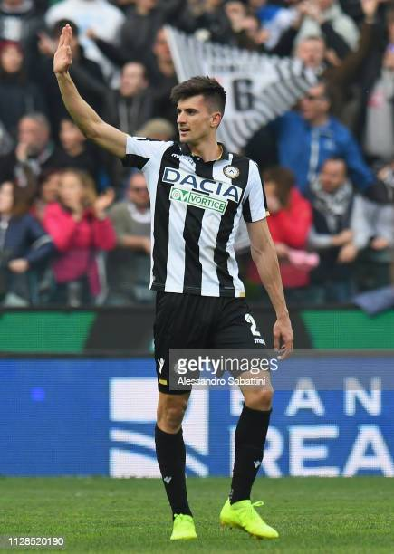 Ignacio Pussetto of Udinese Calcio celebrates after scoring his team second goal during the Serie A match between Udinese and Bologna FC at Stadio...