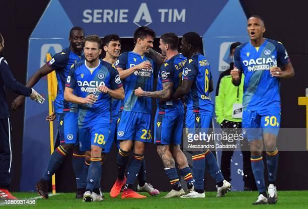 Ignacio Pussetto of Udinese Calcio celebrates after scoring his team third goal during the Serie A match between Udinese Calcio and Parma Calcio at...