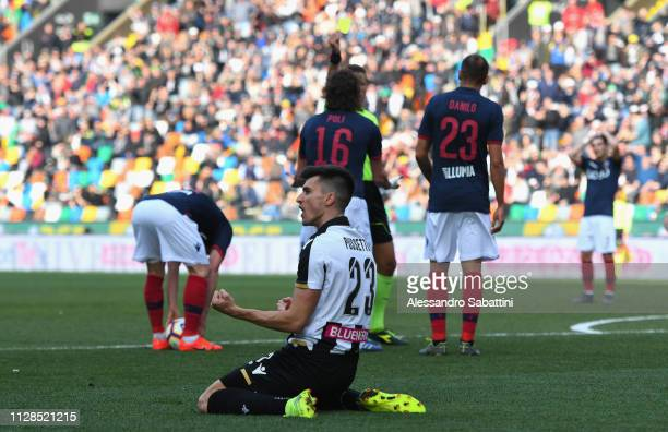 Ignacio Pussetto of Udinese Calcio celebrates during the Serie A match between Udinese and Bologna FC at Stadio Friuli on March 3 2019 in Udine Italy