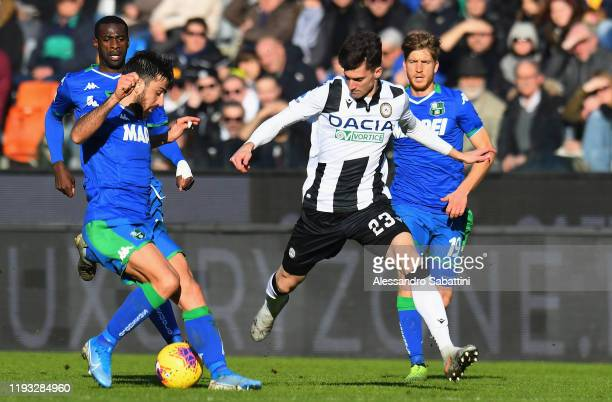 Ignacio Pussetto of Udinese Calcio in action during the Serie A match between Udinese Calcio and US Sassuolo at Stadio Friuli on January 12 2020 in...