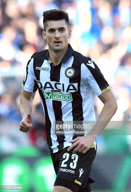 Ignacio Pussetto of Udinese Calcio looks on during the Serie A match between Udinese and Genoa CFC at Stadio Friuli on March 30 2019 in Udine Italy