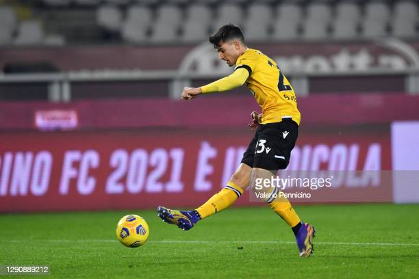 Ignacio Pussetto of Udinese Calcio scores their team's first goal during the Serie A match between Torino FC and Udinese Calcio at Stadio Olimpico di...