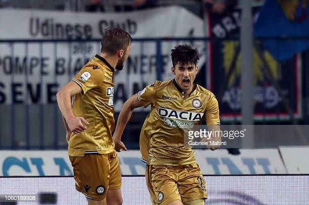 Ignacio Pussetto of Udinese celebrates after scoring a goal during the Serie A match between Empoli and Udinese at Stadio Carlo Castellani on...