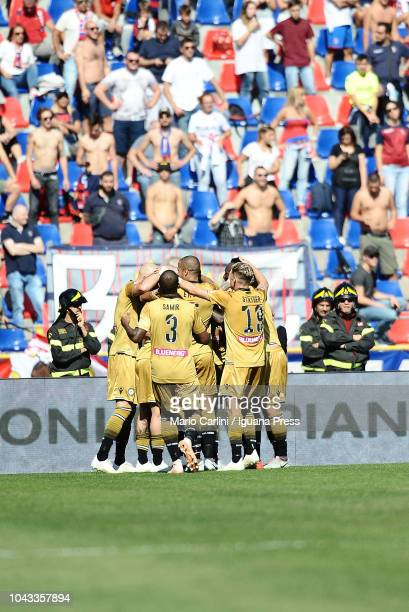 Ignacio Pussetto of Udinese celebrates after scoring the opening goal during the Serie A match between Bologna FC and Udinese at Stadio Renato...