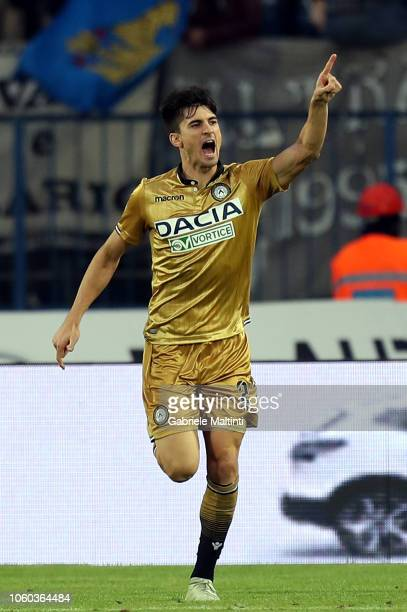 Ignacio Pussetto of Udinese celebrates the goal during the Serie A match between Empoli and Udinese at Stadio Carlo Castellani on November 11 2018 in...