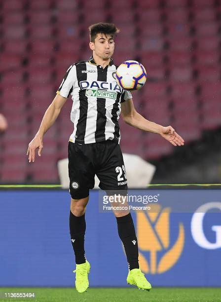 Ignacio Pussetto of Udinese in action during the Serie A match between SSC Napoli and Udinese at Stadio San Paolo on March 17 2019 in Naples Italy