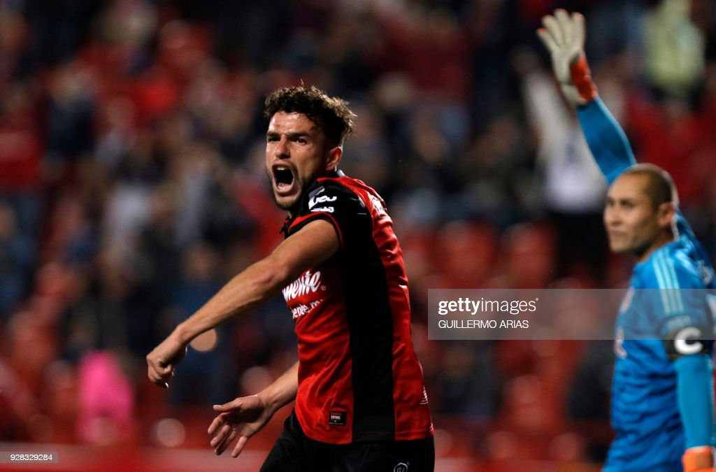 Ignacio Rivero (C) of Tijuana from Mexico reacts during the first leg of the CONCACAF Champions League quarterfinals match against United States New York at Caliente Stadium in Tijuana, Mexico on March 6, 2018. /