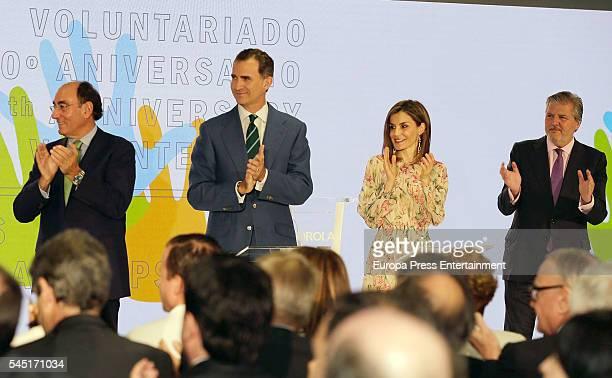 Ignacio Sanchez Galan King Felipe of Spain Queen Letizia of Spain and Inigo Mendez de Vigo attend the ceremony held to present Iberdrola 2016...