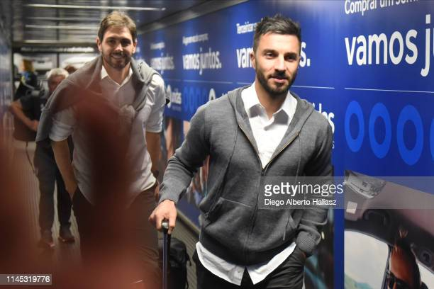 Ignacio Scocco and German Lux of River Plate arrives to Brazil May 20 2019 in Curitiba Brazil River Plate will face Atletico Paranaense as part of...