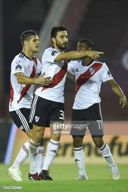 Ignacio Scocco de River Plate celebrates after scoring his team's first goal during a match between Lanus and River Plate as part of Superliga...