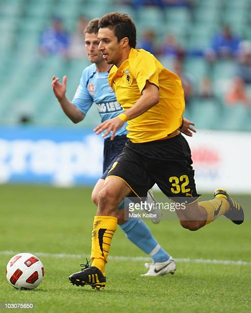Ignacio Scocco of AEK Athens runs the ball forward during the preseason friendly match between Sydney FC and AEK Athens FC at the Sydney Football...
