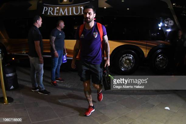 Ignacio Scocco of River Plate arrives to Deville Hotel on October 28 2018 in Porto Alegre Brazil River Plate will face Gremio on Tuesday October 30th...