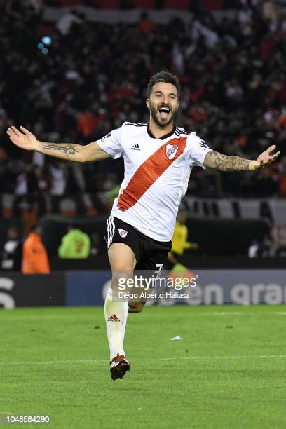 Ignacio Scocco of River Plate celebrates after scoring the first goal of his team during a quarter final second leg match of Copa CONMEBOL...