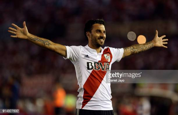 Ignacio Scocco of River Plate celebrates after scoring the first goal of his team during a match between River Plate and Olimpo as part of Superliga...