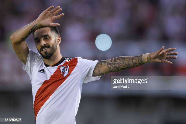 Ignacio Scocco of River Plate celebrates after scoring the second goal of his team during a match between River Plate and Independiente as part of...