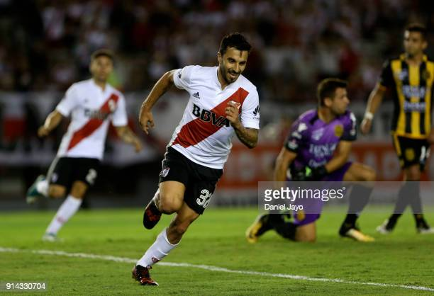 Ignacio Scocco of River Plate celebrates after scoring the second goal of his team during a match between River Plate and Olimpo as part of Superliga...